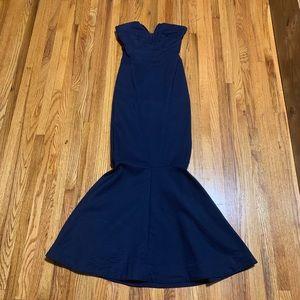 Charlotte Russe Strapless Navy Mermaid Dress XS